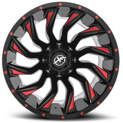 Gloss Red Milled are rugged with unique styling. Sizes vary from 17 to 26 Inch with various widths that fit all 4 x 4 lifted trucks. Available for shipping with wheel and tire packages including lug and lock installation kits. Call 888.400.3957 for expert wheel and tire advice.