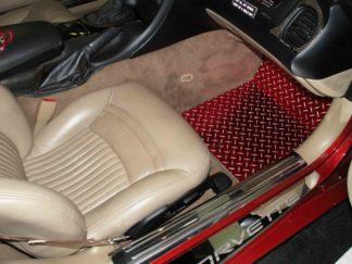 Floor Mat Diamond Plate Red Show Mat 2pc |1999-2004 Chevrolet Corvette