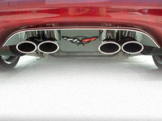 Exhaust Filler Panel Polished w/ Crossed Flags Emblem GML Stock |1997-2004 Chevrolet Corvette