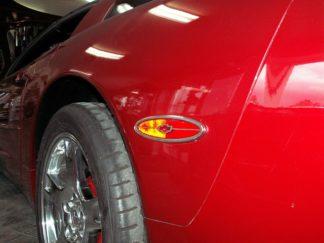 Side Marker Trim Satin Chevy Bowtie GML Rear Side 2pc |1997-2004 Chevrolet Corvette