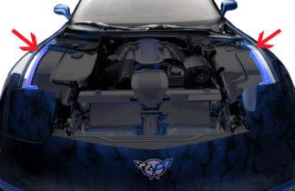 Inner Fender Liners Polished 4pc w/Illum. Top Caps Blue LED |1997-2004 Chevrolet Corvette