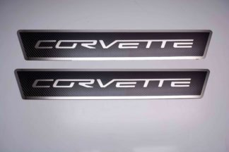 """Outer Door sills Carbon Fiber w/ Polished Stainless Steel Inlay """"Corvette"""" 