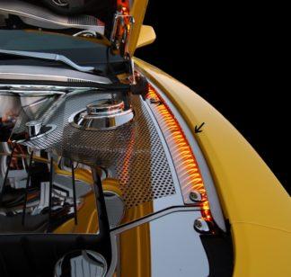 Inner Fender Liners Polished 4pc w/Top Caps Illum. Yellow LED 2010-2015 Chevrolet Camaro2005-2005 Chevrolet Corvette