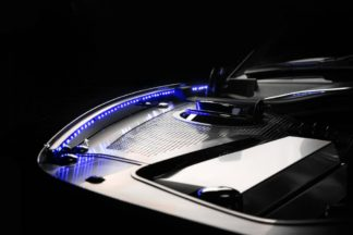 Inner Fender Liners Polished 4pc w/ Top Caps Illum. White LED 2010-2015 Chevrolet Camaro