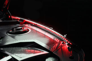 Inner Fender Liners Polished 4pc w/ Top Caps Illum. Red LED 2010-2015 Chevrolet Camaro