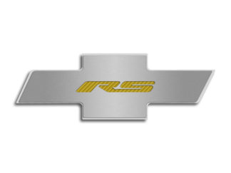 "Hood Badge ""RS"" Stainless Emblem fits factory hood pad  Yellow Carbon Fiber 2010-2015 Chevrolet Camaro"
