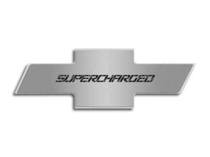"Hood Badge ""Supercharged"" Stainless Emblem fits factory hood pad 2010-2013 Chevrolet Camaro"
