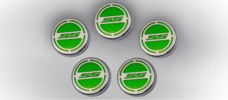 "Cap Cover Set Carbon Fiber ""SS"" Series Automatic 5pc CF Synergy Green 2010-2015 Chevrolet Camaro"