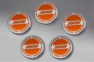 "Cap Cover Set Carbon Fiber ""SS"" Series Automatic 5pc CF Orange 2010-2015 Chevrolet Camaro"