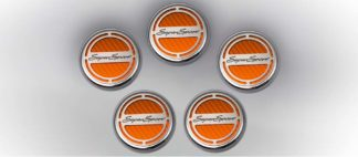 """Cap Cover Set Carbon Fiber """"Super Sport"""" Series Automatic 5pc CF Orange 2010-2015 Chevrolet Camaro"""
