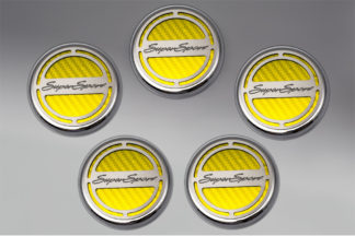 "Cap Cover Set Carbon Fiber ""Super Sport"" Series Automatic 5pc CF Yellow 2010-2015 Chevrolet Camaro"