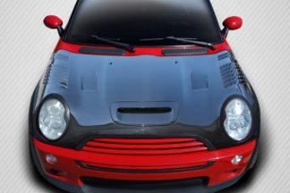 2002-2006 Mini Cooper Carbon Creations DriTech Racer Hood - 1 Piece