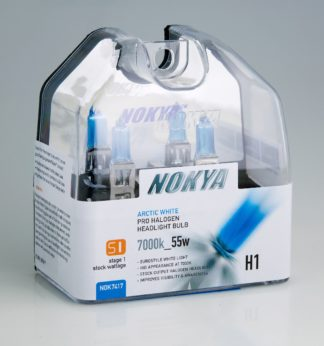 Nokya Headlight Bulb; Pro Series; H1 Halogen; Arctic White; 55 Watt 7000K; Set Of 2