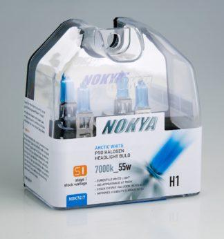 Nokya Headlight Bulb; Pro Series; H1 Halogen; Arctic White; 55 Watt 7000K; Set Of 2