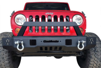 Jeep Front Bumper Carbon Steel Black; 2007-2018 Jeep Wrangler JK