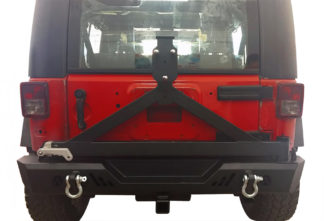 Jeep Rear Bumper Tire Carrier Carbon Steel Black; 2007-2018 Jeep Wrangler JK ( With Hitch Receiver )