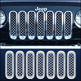 CCI Grille Overlay Chrome ABS; Jeep Wrangler JK 2007-2018