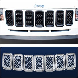 CCI Grille Overlay Black ABS; Jeep Compass  2011-2016