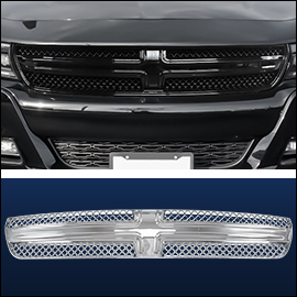 CCI Grille Overlay Black ABS; Dodge Charger  2015-2019