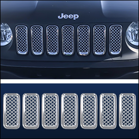 CCI Grille Overlay Chrome ABS; Jeep Renegade  2015-2018
