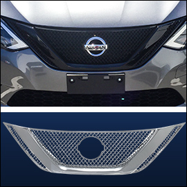 CCI Grille Overlay Black ABS; Nissan Sentra  2016-2019