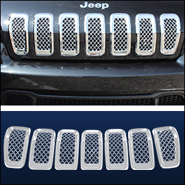 CCI Grille Overlay Chrome ABS; Jeep Cherokee  2014-2018