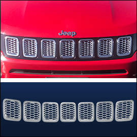 CCI Grille Overlay Chrome ABS; Jeep Compass 2017-2020