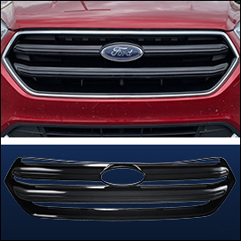 CCI Grille Overlay Black ABS; Ford Escape 2017-2019