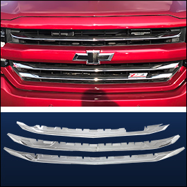 CCI Grille Overlay Chrome ABS; Chevy Silverado  2016-2018