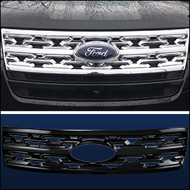 CCI Grille Overlay Black ABS; Ford Explorer 2018-2019