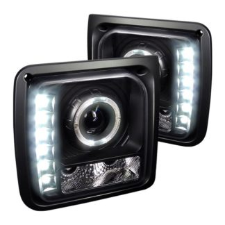 Spec-D® LHP-CHKE97JM-RS - Black Halo Projector Headlights with LED DRL 1997 - 2001 Jeep Cherokee
