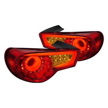 Spec-D® LT-FRS12RLED-TM - Chrome/Red Fiber Optic LED Tail Lights 2012 - 2016 Subaru BRZ