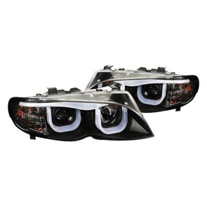 Spyder® PRO-YD-BMWE4602-4D-3DDRL-BK - Black 3D LED DRL Bar Halo Projector Headlights E46 2002 - 2005 BMW 3 Series