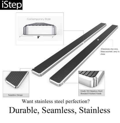 iStep 5 Inch Stainless Steel Running Board; 2007-2019 Toyota Tundra Double Cab  (1 Pair)