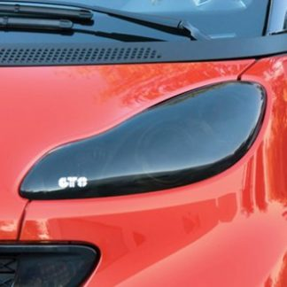 GT Styling Headlight Cover; Full Cover; Solid; Smoke; Plastic; Set Of 2; 2008-2015 Smart Fortwo