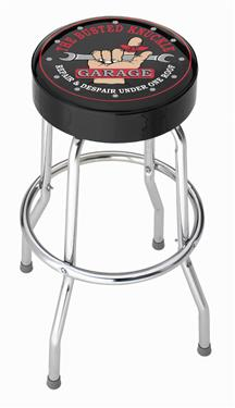 Stool; Garage Stools; Round Black Vinyl Seat With The Busted Knuckle Garage/Hand With Wrench