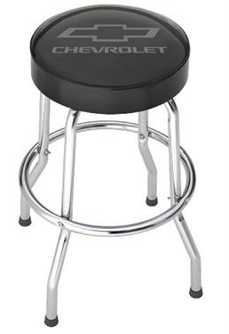 Stool; Garage Stools; Round Black Vinyl Seat With Gray Chevy Logo