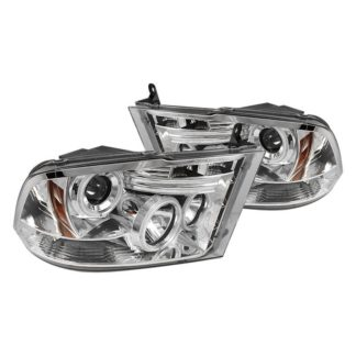 Dodge Ram 1500 09-18 / Ram 2500/3500 10-19 Projector Headlights - Halogen Model Only ( Not Compatible With Factory Projector And LED DRL ) - LED Halo - LED ( Non Replaceable LEDs ) - Chrome - High 9005 (Not Included)- Low H1 (Included)