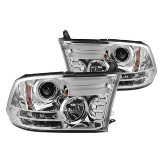 Dodge Ram 1500 09-18 / Ram 2500/3500 10-19 Projector Headlights - Halogen Model Only ( Not Compatible With Factory Projector And LED DRL ) - Light Bar DRL - Chrome - High 9005 (Not Included)- Low H1 (Included)