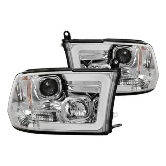 Dodge Ram 1500 09-18 / Ram 2500/3500 10-19 Version 2 Projector Headlights - Halogen Model Only ( Not Compatible With Factory Projector And LED DRL ) - Light Bar DRL - Low Beam-H7(Included) ; High Beam-H1(Included) ; Signal-3157A(Not Included) - Chrome