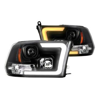 Dodge Ram 1500 09-18 / Ram 2500/3500 10-19 Version 2 Projector Headlights - Halogen Model Only ( Not Compatible With Factory Projector And LED DRL ) - Switch Back Light Bar Turn Signal - Black - Lo Beam ; H7 Included - Hi Beam ; H1 Included