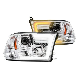 Dodge Ram 1500 09-18 / Ram 2500/3500 10-19 Version 2 Projector Headlights - Halogen Model Only ( Not Compatible With Factory Projector And LED DRL ) - Switch Back Light Bar Turn Signal - Chrome - Lo Beam ; H7 Included - Hi Beam ; H1 Included