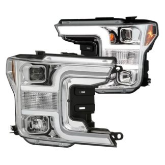 Ford F150 18-19 (Halogen Model Only Do Not Fit Factory Xenon Model) Projector Headlights - Low Beam-H7(Included) ; High Beam-H1(Included) ; Signal-7444NA(Not Included) - Chrome