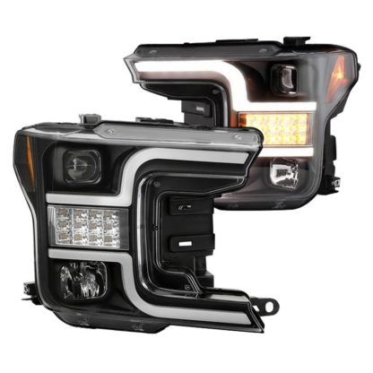 Ford F150 18-19 (Halogen Model Only Do Not Fit Factory Xenon Model) Projector Headlights - LED Sequential Turn Signal - Low Beam-H7(Included) ; High Beam-H1(Included) ; Signal-LED - Black