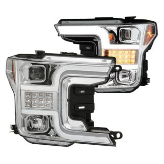 Ford F150 18-19 (Halogen Model Only Do Not Fit Factory Xenon Model) Projector Headlights - LED Sequential Turn Signal - Low Beam-H7(Included) ; High Beam-H1(Included) ; Signal-LED - Chrome