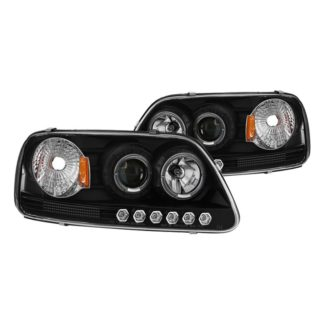 Ford F150 97-03 / Expedition 97-02 1PC Projector Headlights - ( Will Not Fit Manufacture Date Before 6/1997 ) - LED Halo - Amber Reflector - LED ( Replaceable LEDs ) - Black - High 9005 (Included) -  Low H3 (Included)