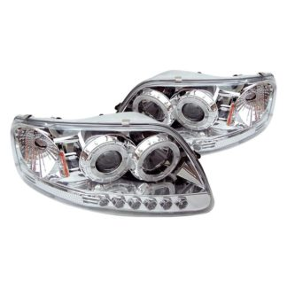 Ford F150 97-03 / Expedition 97-02 1PC Projector Headlights - ( Will Not Fit Manufacture Date Before 6/1997 ) - LED Halo - Amber Reflector - LED ( Replaceable LEDs ) - Chome - High 9005 (Included) -  Low H3 (Included)