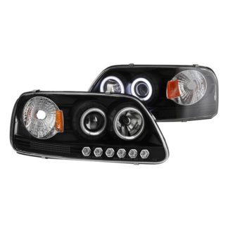 Ford F150 97-03 / Expedition 97-02 1PC Projector Headlights - ( Will Not Fit Manufacture Date Before 6/1997 ) - CCFL Halo - LED ( Replaceable LEDs ) - Black - High 9005 (Included) -  Low H3 (Included)