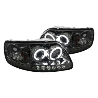 Ford F150 97-03 / Expedition 97-02 1PC Projector Headlights - ( Will Not Fit Manufacture Date Before 6/1997 ) - CCFLHalo - LED ( Replaceable LEDs ) - Smoke - High 9005 (Included) -  Low H3 (Included)