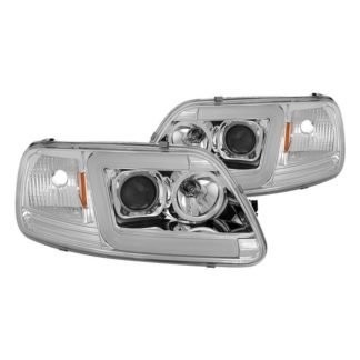 Ford F150 97-03 / Expedition 97-02 1PC Version 2 Projector Headlights - ( Will Not Fit Manufacture Date Before 6/1997 ) - Light Bar DRL LED - Chrome